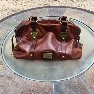 Frye cognac brown leather satchel